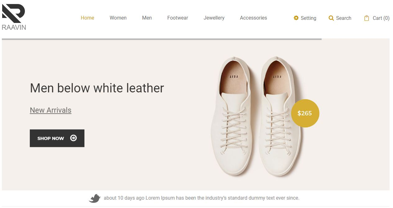 Raavin - mẫu website bán giày online thanh lịch